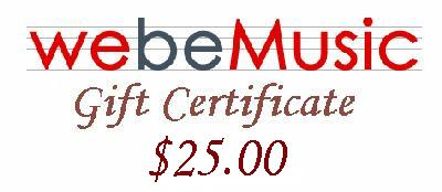 WeBeMusic.com - Music Unlimited  $25.00 Gift Certificate (GIFTCERT25)