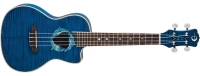 Luna Dolphin Flame Top Acoustic / Electric Concert Ukulele - Trans Blue (UKEDPN)