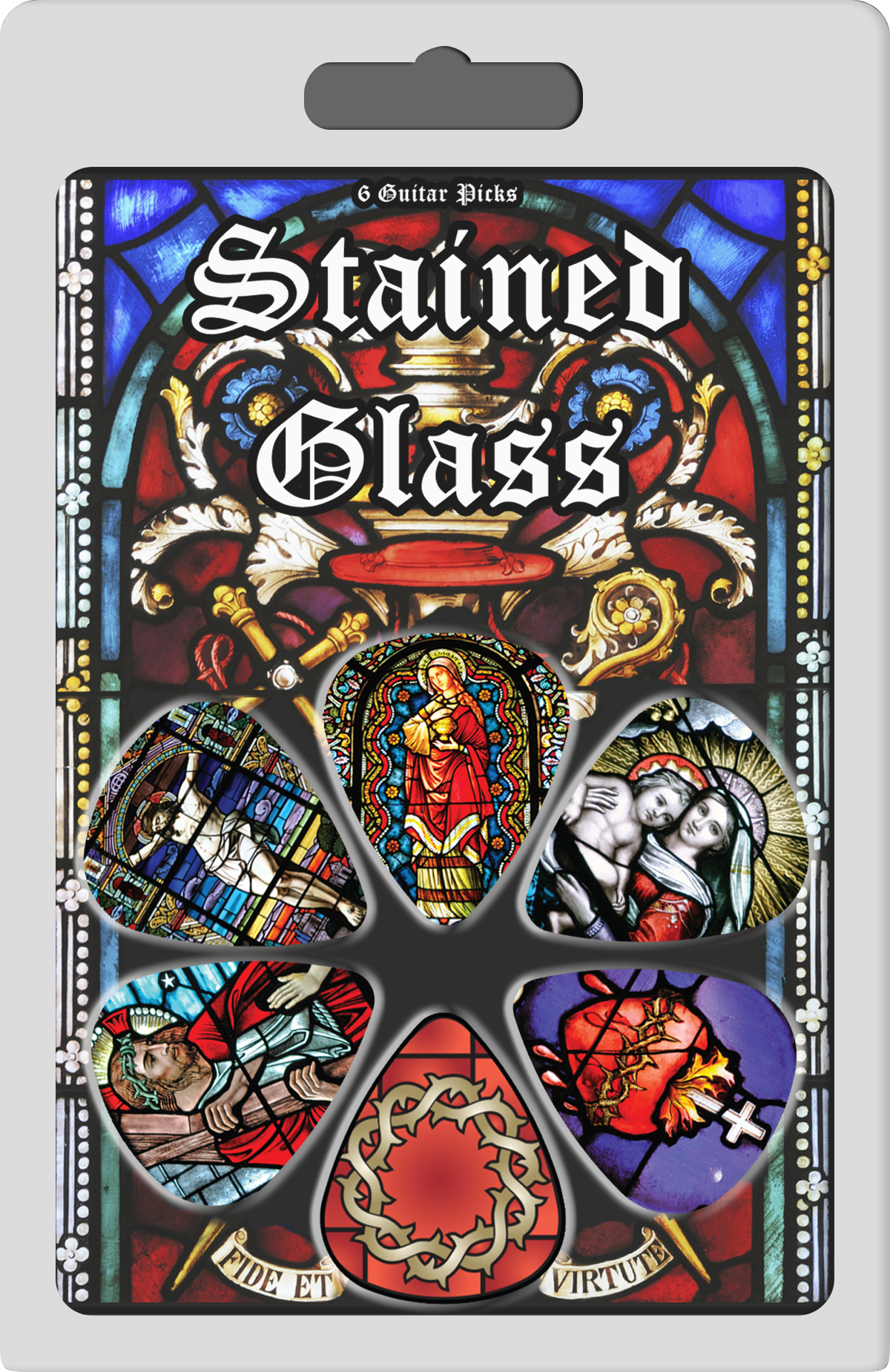 Stained Glass Collectible Static Picture Guitar Picks 6 Pack