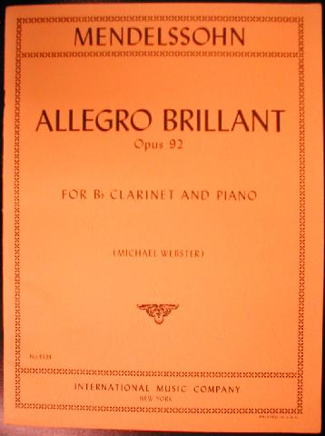 Mendelssohn - Allegro Brillant Op.92 for Clarinet and Piano arr. (3324IMC)
