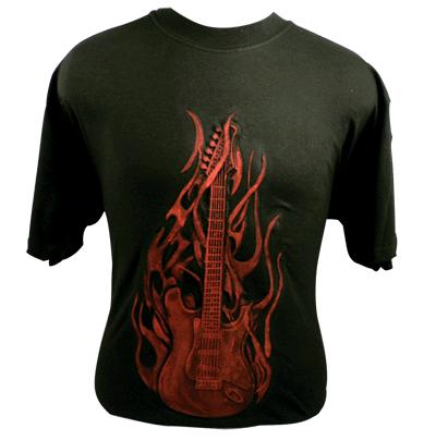 Embossed Flaming Guitar Tee Shirt - Red on Black (82537)