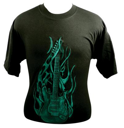 Embossed Flaming Guitar Tee Shirt - Green on Black (82540)