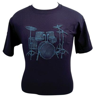 Embossed Drum Set Tee Shirt - Blue on Blue (82580)