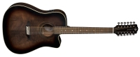 Luna Art Vintage Distressed Dreadnought Cutaway A/E 12 String - Solid Top (ARTVDCE12)
