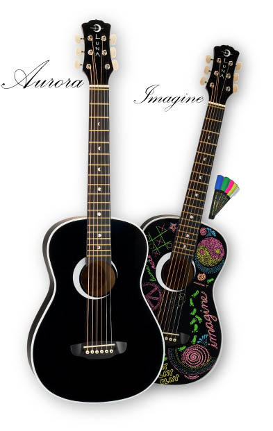Luna Aurora Imagine Mini Student Acoustic Guitar (AURMPD1BLS)