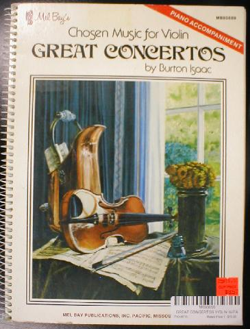 Chosen Music For Violin Great Concertos  - Piano Accompaniment (CID-93689)