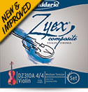 D'Addario Zyex Violin Silver D String - 4/4 Medium Tension (DZ313S44M)