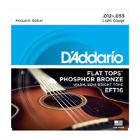 D'addario EFT16 Phosphor Bronze Flat Tops, Light, 12-53 (EFT16)