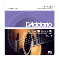 D'Addario 80/20 Bronze Acoustic Guitar Strings, Custom Light, 11-52 (EJ13)