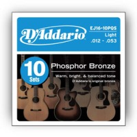 D'Addario Phosphor Bronze Acoustic Strings, Light 10 Pack (EJ1610P)