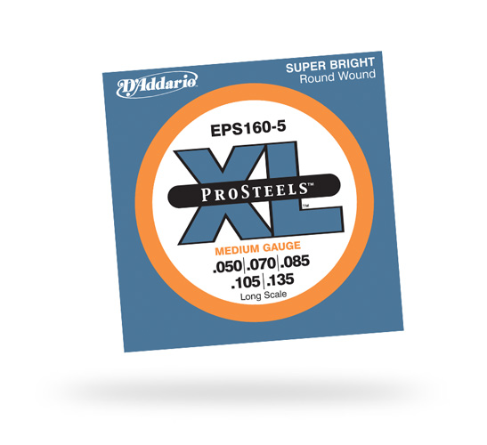 D'Addario EPS160 ProSteels Bass Guitar 5-String Set (EPS1605)