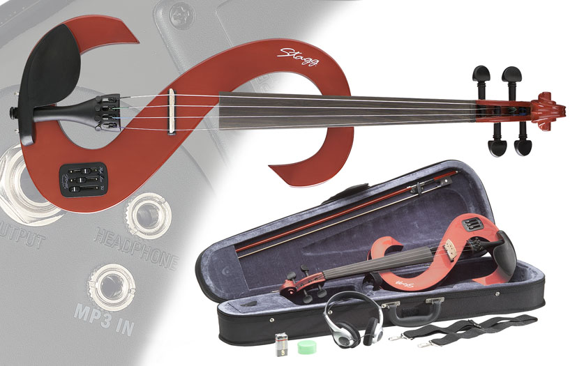 Stagg Electric Silent 4/4 Violin Outfit – Transparent Red (EVN44TR)