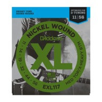 D'Addario EXL117 Nickel Wound, Medium Top/Extra-Heavy Bottom, 11-56 (EXL117)