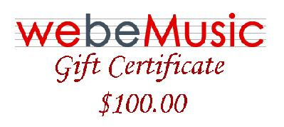 WeBeMusic.com - Music Unlimited  $100.00 Gift Certificate (GIFTCERT100)
