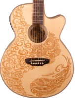 Luna Henna Paradise Acoustic/Electric Guitar, Spruce (HENPARSPR)