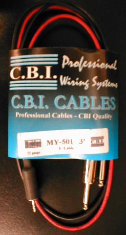 "CBI 3' Y Cable 1/8"" TRS Male - 2 x 1/4"" TS Male (MY5013)"