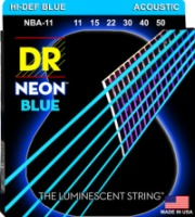 DR NBA-11 NEON Blue Acoustic Custom Lite Coated String 11-50 (NBA11)