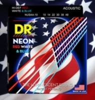 DR NEON Red White and Blue Acoustic Guitar Strings 11-50 (NUSAA11)