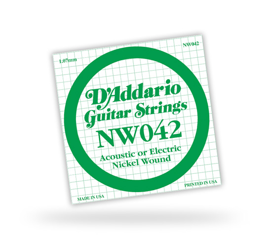 D'Addario Nickel Wound Single Strings, .072 (5) (NW072)
