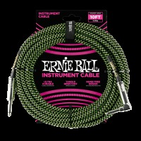 Ernie Ball 10' Braided Straight / Angle Instrument Cable - Black / Green (P06077)