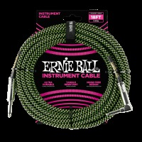 Ernie Ball 18' Braided Straight / Angle Instrument Cable - Black / Green (P06082)