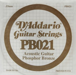 D'Addario Acoustic Phosphor Bronze Guitar Strings .021 5 Pack (PB021)