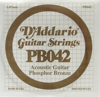 D'Addario Acoustic Phosphor Bronze Guitar Strings .042 5 Pack (PB042)