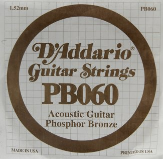 D'Addario Acoustic Phosphor Bronze Guitar Strings .060 5 Pack (PB060)