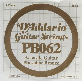 D'Addario Acoustic Phosphor Bronze Guitar Strings .062 5 Pack (PB062)