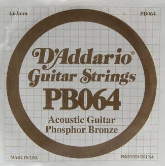 D'Addario Acoustic Phosphor Bronze Guitar Strings .064 5 Pack (PB064)