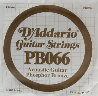 D'Addario Acoustic Phosphor Bronze Guitar Strings .066 5 Pack (PB066)