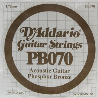 D'Addario Acoustic Phosphor Bronze Guitar Strings .070 5 Pack (PB070)