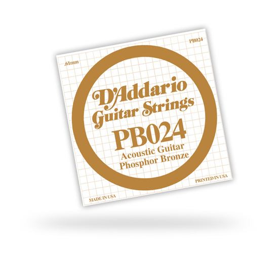 D'Addario Acoustic Phosphor Bronze Guitar Single Strings (PB0S)
