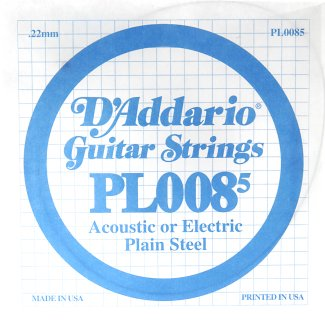 D'Addario Plain Steel Guitar Strings, .0085 5/Pack (PL0085)
