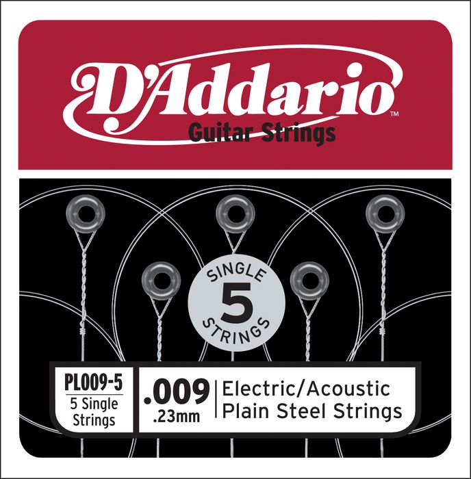 D'Addario PL009 5 Pack Single Strings (PL0095P)