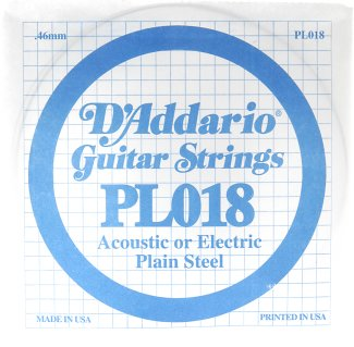 D'Addario Plain Steel Guitar Strings, .018 10 Pack (PL018)