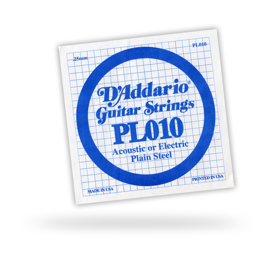 D'Addario Plain Steel Guitar Single Strings (PL0S)