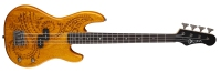 "Luna Tattoo Mahogany Electric Bass Guitar 30"" Scale (TAT30)"