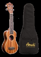 Amahi Soprano Mahogany With White Binding Peanut Ukulele w/ Deluxe Bag (UK217PT)